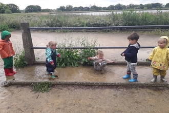 Muddy puddles at Nature Tots Woodberry Wetlands