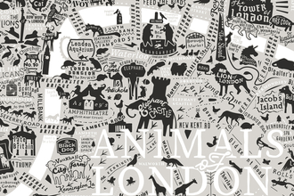 illustrated map showing London depicted through animals