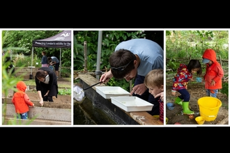 Family activities in outdoor classroom at Walthamstow Wetlands.