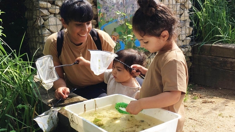 Pond dipping at Woodberry Wetlands