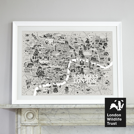 Animals of london print sitting on mantelpiece
