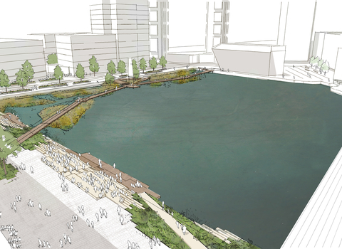 Canada Water Masterplan _Dock View_01 © Townshend Landscape Architects